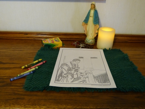 First Communion Coloring Page: Priest, altar boy, Communion girl, altar rail.