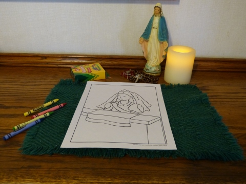 Before - Kneeling First Communion Girl coloring page