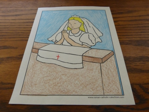 After - Kneeling First Communion Girl coloring page