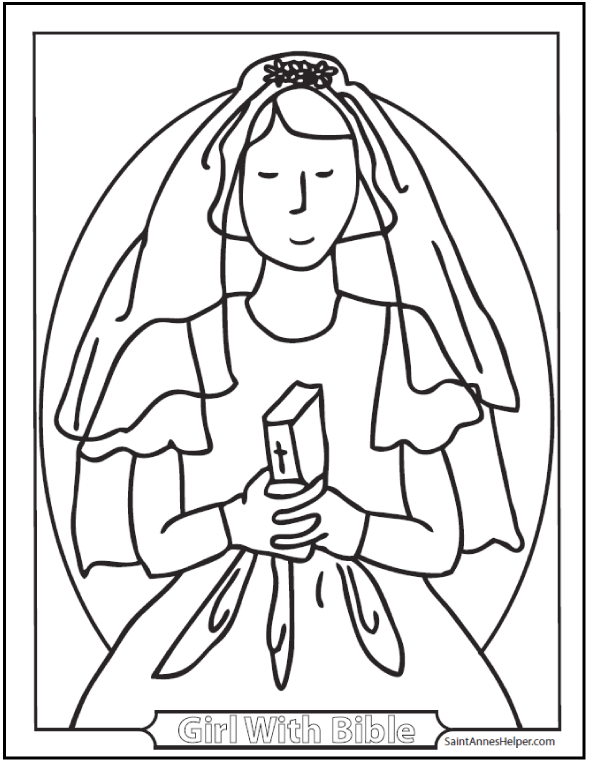 Girl and Bible First Holy Communion Coloring Page