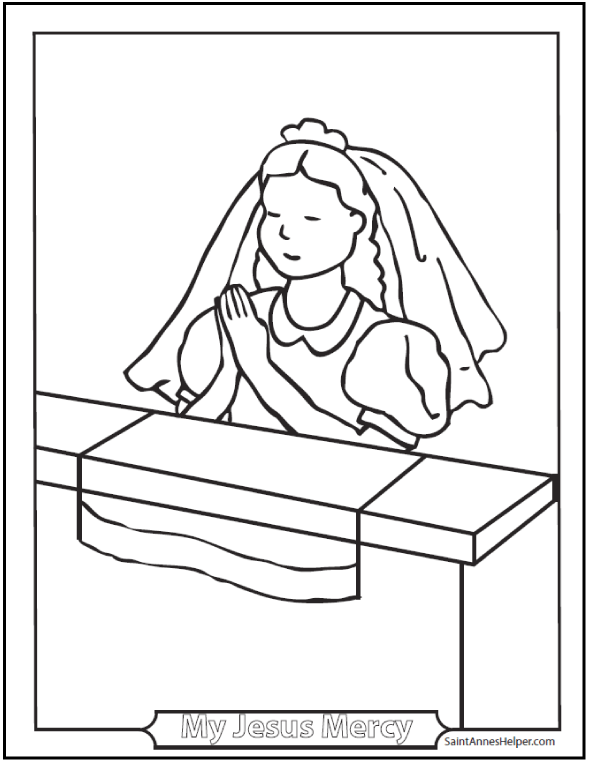 Girl Communion Coloring Sheet: Praying at a kneeler with First Communion veil.