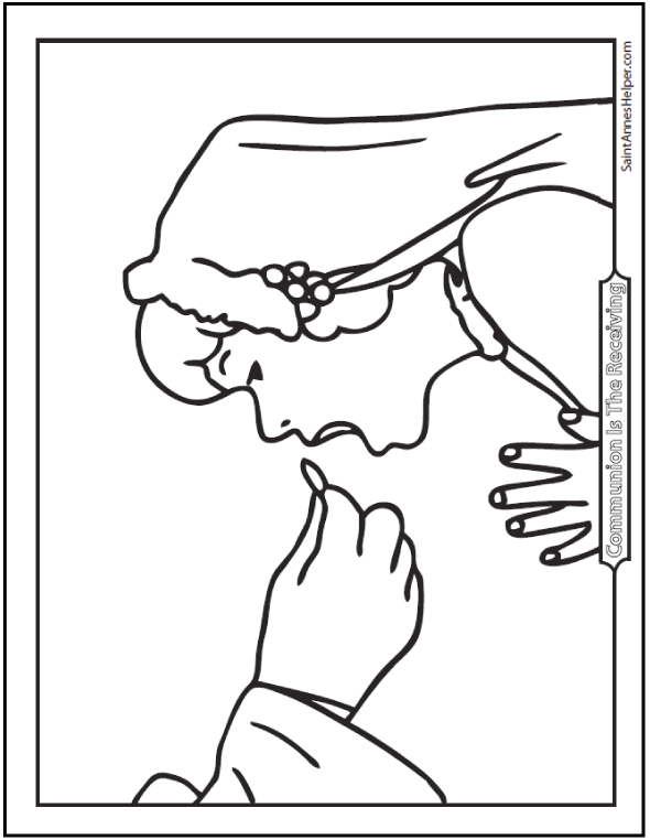 Girl Receiving On The Tongue First Holy Communion Coloring Page