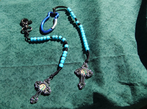 This beautiful little rosary comes with a beautiful Our Lady of Guadalupe Cross and blue white-heart beads.