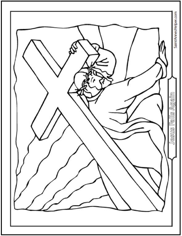 Printable Stations Of The Cross Coloring Page Jesus Falls