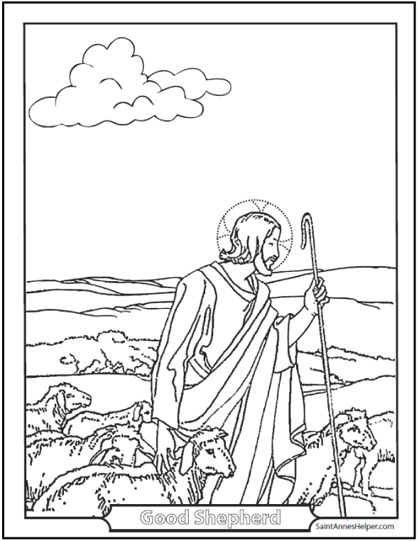 Printable Easter Coloring Page: Good Shepherd Tends His Flock.