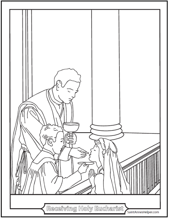 Priest at altar rail with girl kneeling for Communion coloring page. First Communions are so beautiful!