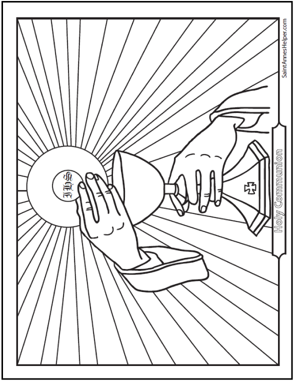 Holy Communion Coloring Page: Priest's hands holding the Host and Chalice with rays.