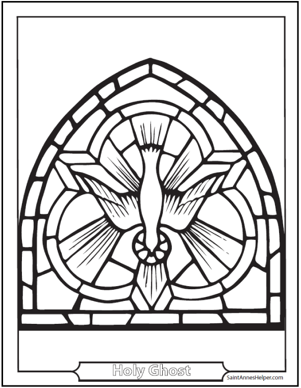 Holy Spirit Dove coloring page: shows the Holy Ghost with rays of grace.