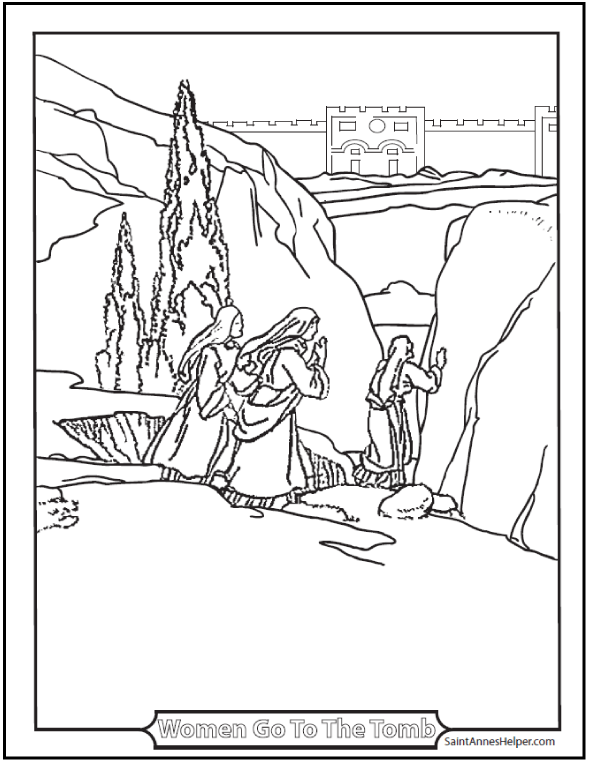Easter Morning Coloring Page: The women run to tell the Apostles that Jesus is risen.
