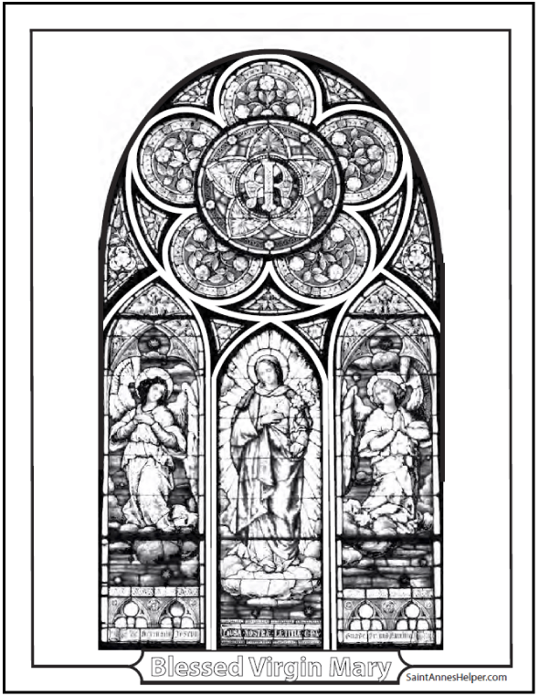 Immaculate Conception Stained Glass Coloring Page: Beautiful triptych with angels and rose window!