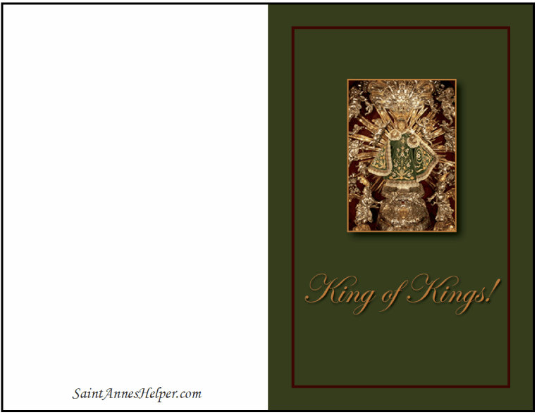 Printable Catholic Christmas Card: Infant of Prague King of Kings