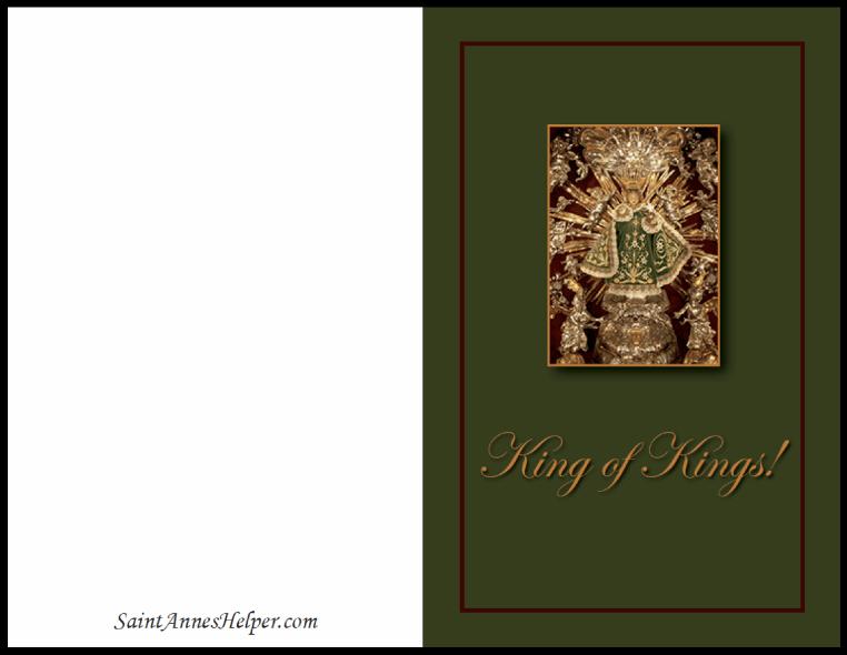 Catholic Christmas Card: Infant of Prague on green.