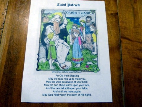 Irish Blessing Prayer and St. Patrick Day coloring page with Saint Patrick teaching children. Three in One.