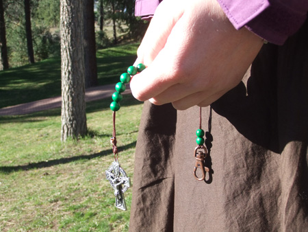Green beads with Celtic Crucifix.