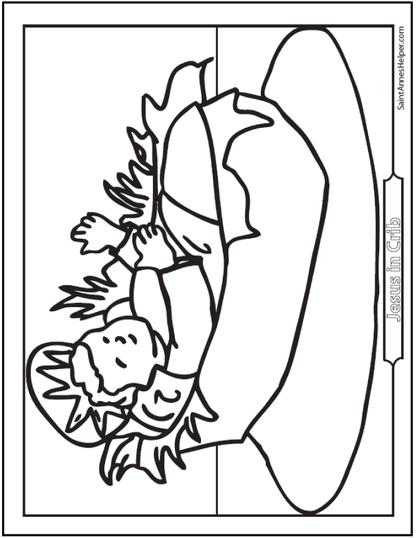 Baby Jesus Coloring Picture. Jesus in the Manger at Christmas.