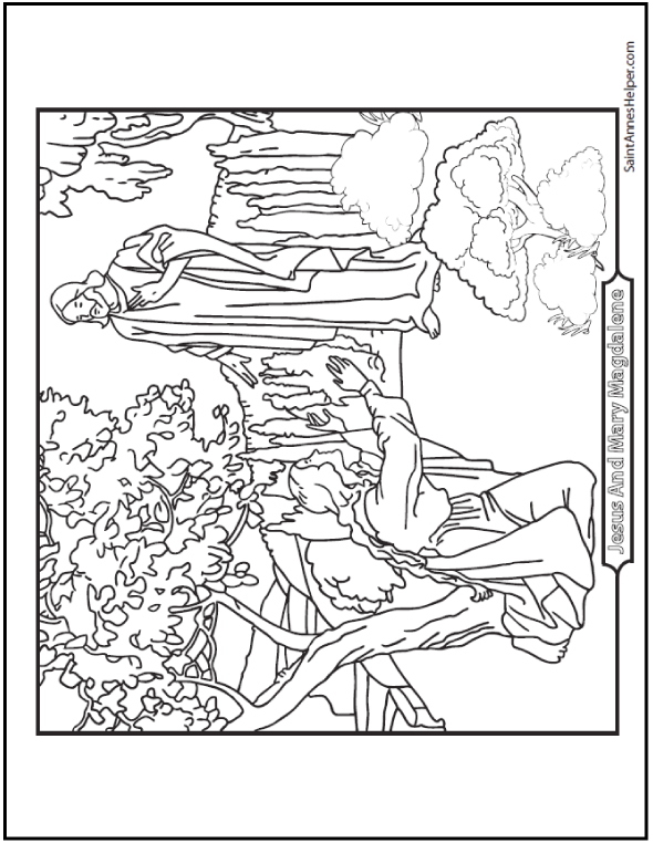Jesus And Mary Magdalen Bible story coloring page. He spoke to her!