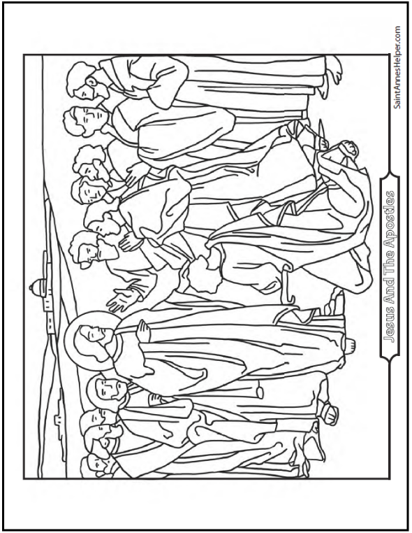 Jesus and the 12 Apostles coloring page showing him giving the Keys of Kingdom to Simon Peter.