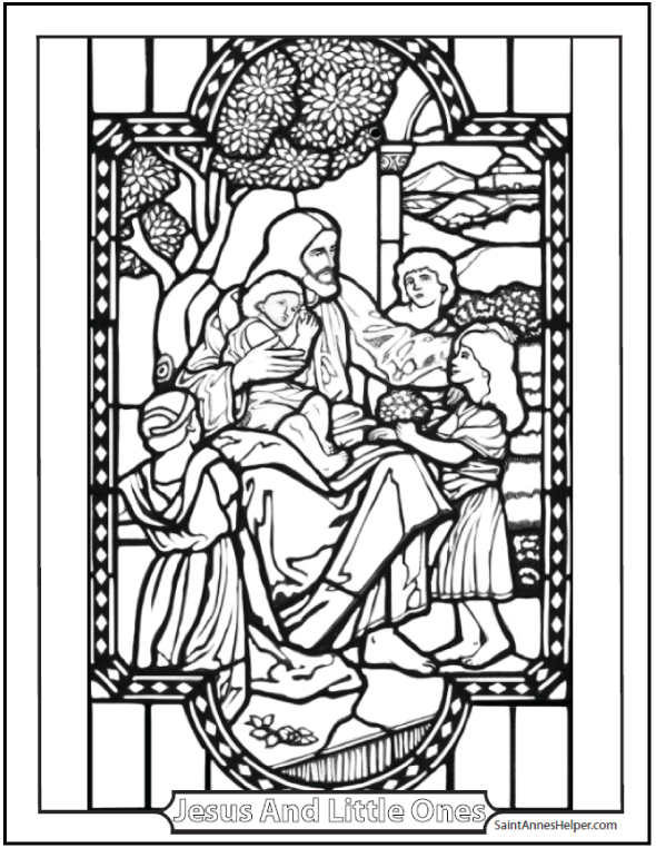 Jesus Coloring Pages: Jesus and the little ones.