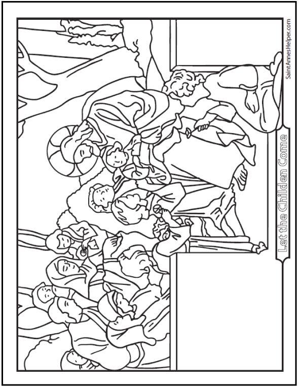 Jesus Loves The Little Children Coloring Page: Sitting in the garden with boys and girls.