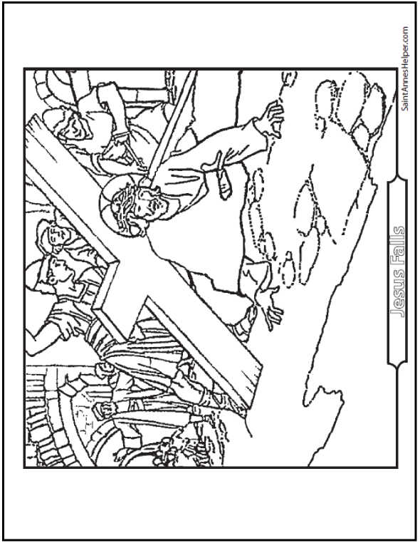 Jesus Falls Coloring Sheet: Third, Seventh, and Ninth Stations.
