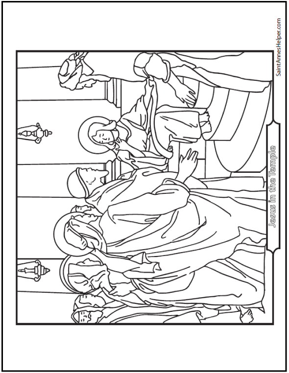 Printable Bible Story Coloring Page: - Jesus Teaching In The Temple