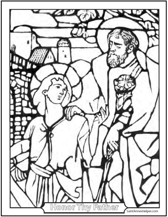 Stained Glass Coloring Page of Jesus and St. Joseph. SaintAnnesHeper.com #SaintJosephColoringPage #SaintJosephAndJesus
