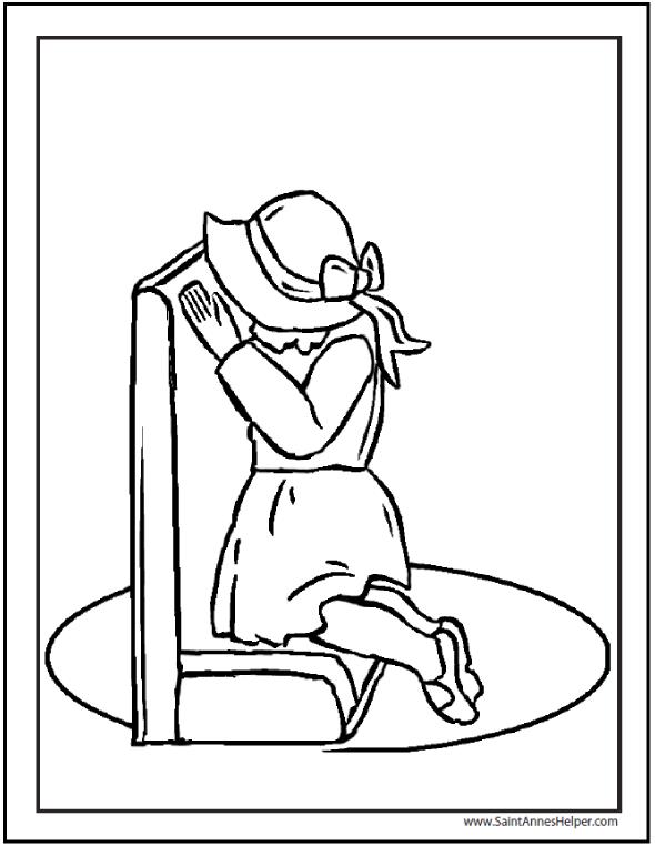 Catholic Prayers: Kneeling Girl Praying on Prie Dieu