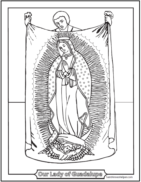 our lady of guadalupe coloring page la virgen de la guadalupe