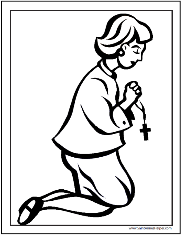 Lady Praying Rosary Coloring Page