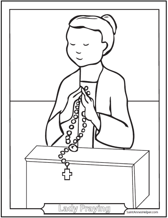 Praying Girl Coloring Page: Lady holding rosary.