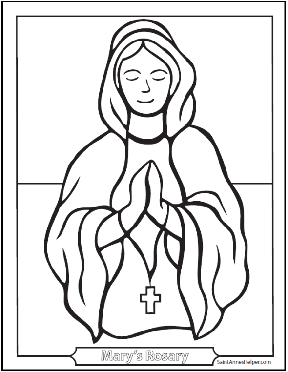 Mary With Rosary coloring sheet.