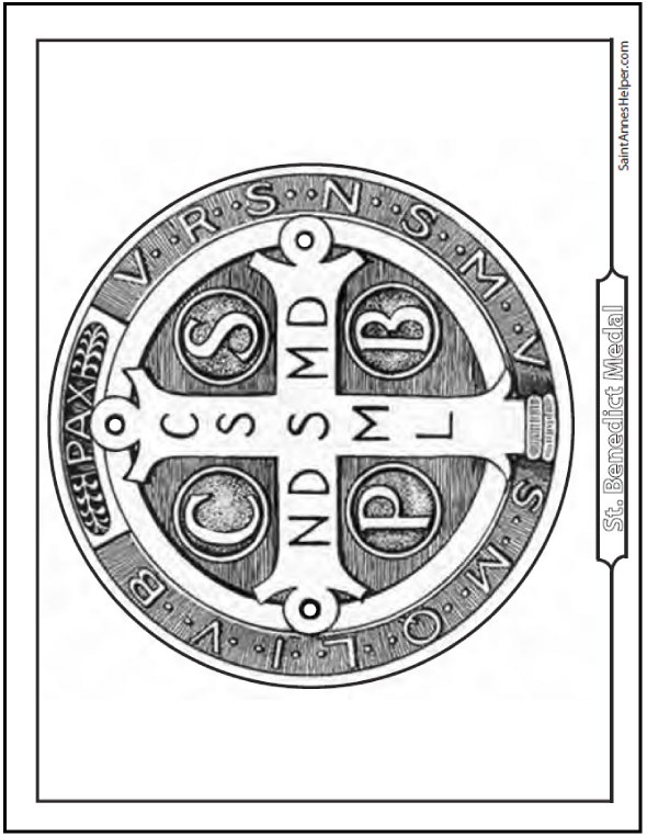 Back of the Saint Benedict medal, cross with abbreviations on the back.