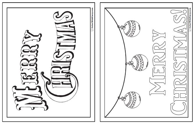 Printable Merry Christmas Coloring Pages: ColorWithFuzzy.com Banners and posters.
