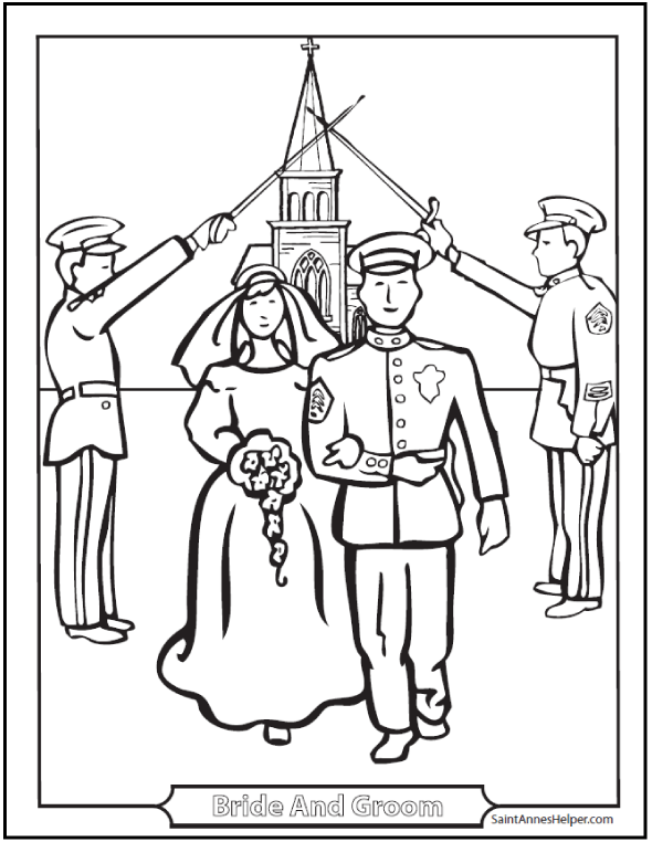 Marriage Coloring Page: Military couple, soldiers in salute, church in background.