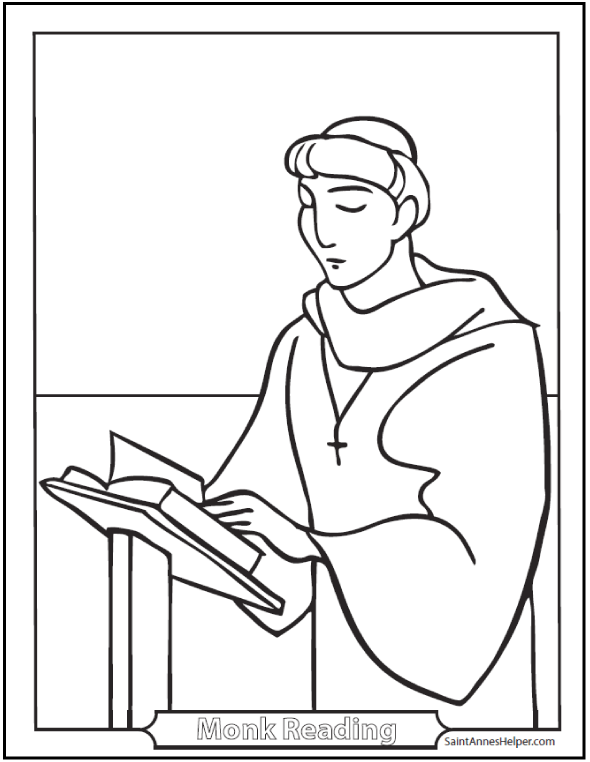 Catholic Saints Coloring Page: Male Saints - Catholic Monk