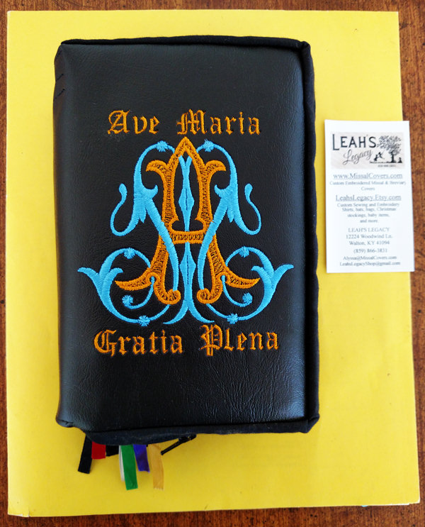 Monogrammed Bible Covers, Missal Covers, and Prayer Book Covers.