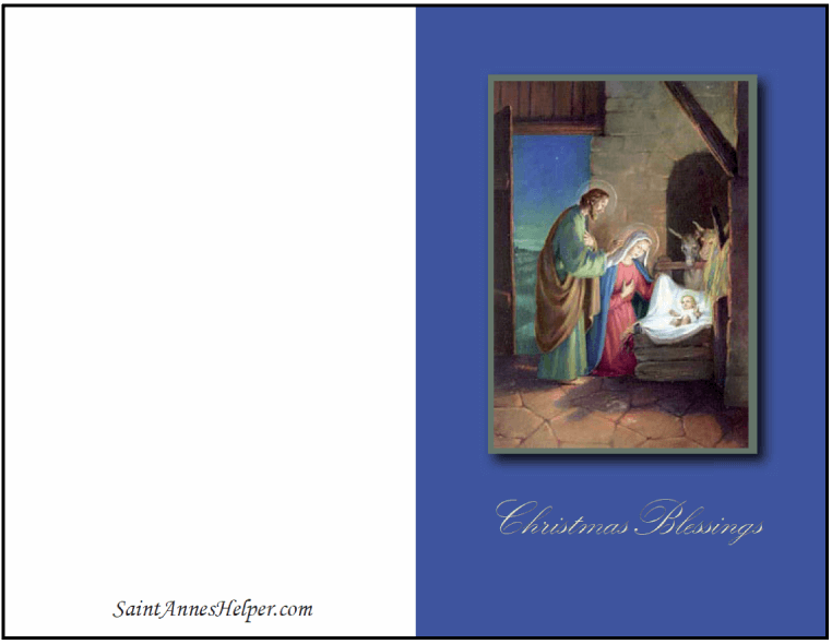 Free Printable Christmas Cards: Nativity Scene with Jesus, Mary, and Joseph
