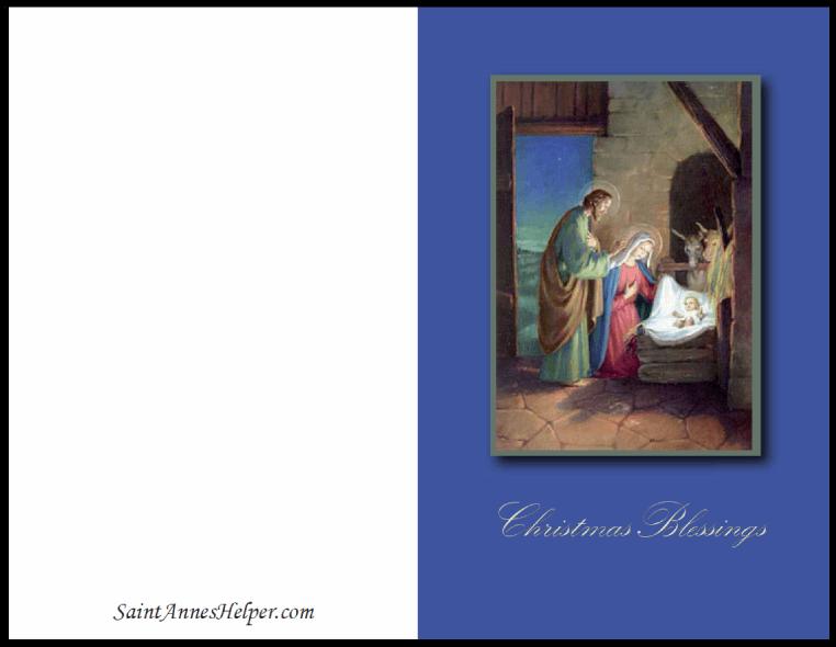 Catholic Christmas Cards: Nativity Scene Christmas Blessings