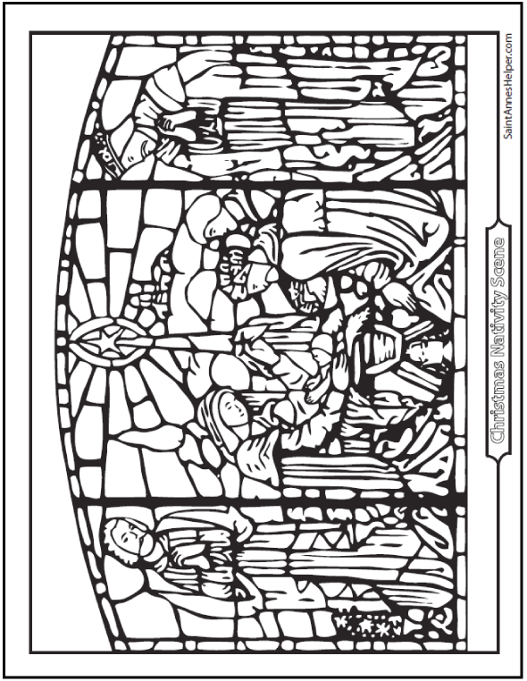 Stained Glass Nativity Coloring Page. The Birth of Jesus. The Holy Family.