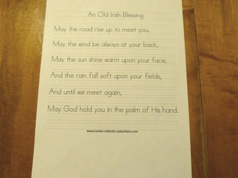 Irish Blessing Worksheet - copy the Old Irish Blessing handwriting worksheet