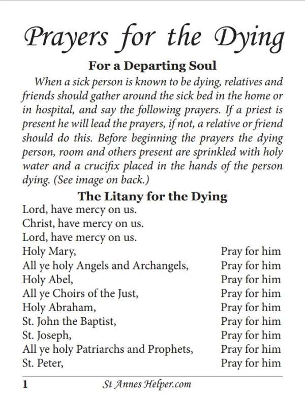Online Prayers For The Dying - Mobile Version - Great for the Catholic priest at the bedside and for families and friends gathered at that most awesome hour!