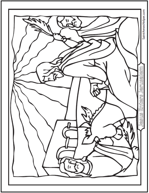 Palm Sunday Coloring Pages Jesus Enters Jerusalem