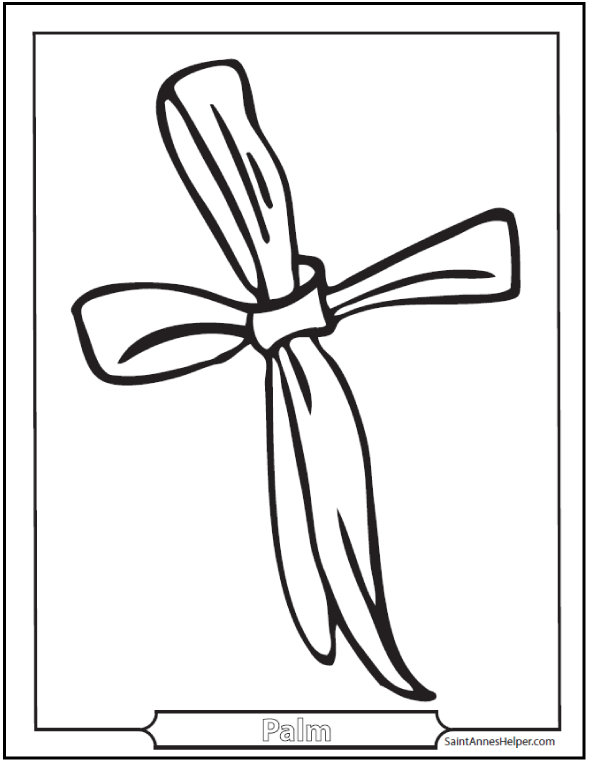 Palm Sunday Clip Art: Palm Cross Coloring Page