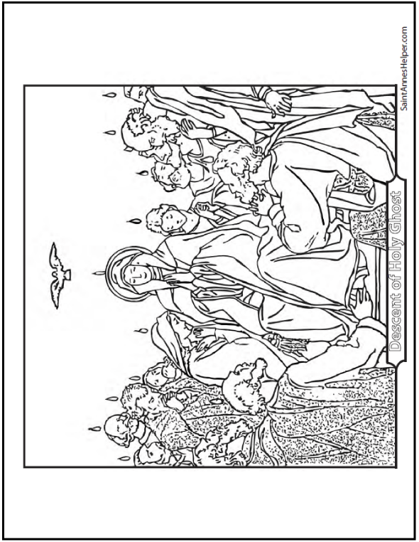 Mary and the Apostles coloring page: Pentecost, the Descent of the Holy Ghost. Notre Dame Queen of Apostles.