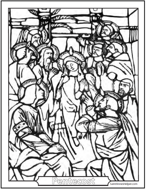 Descent of the Holy Spirit on the Apostles and Mary coloring page. Pentecost. Third Glorious Mysteries of the Rosary Coloring Sheet.