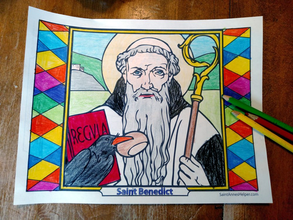 Catholic feast days - Saint Benedict Quotes and Coloring Pages