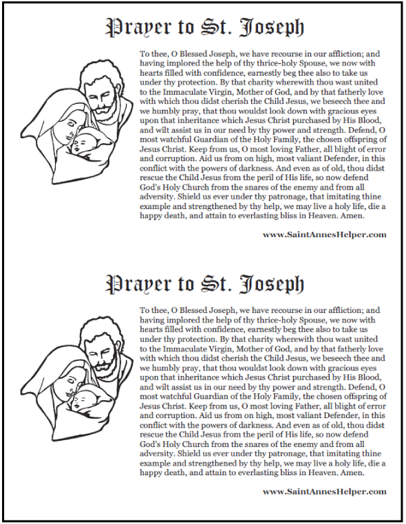Printable prayer to St. Joseph card and coloring pages. Go to Joseph! Prints two up.
