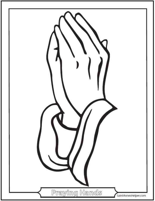 Praying Hands Catholic Coloring Page