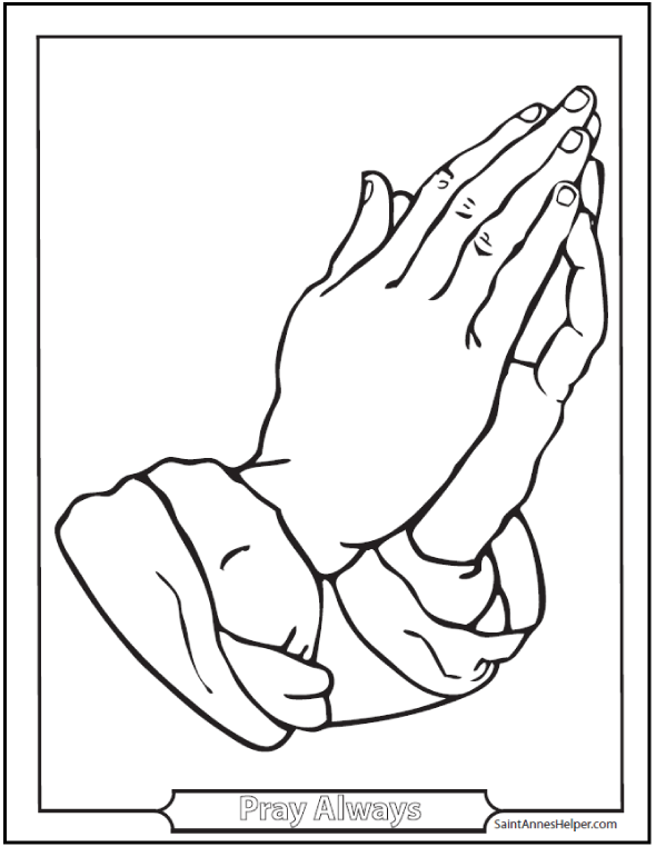 Antique Praying Hands Coloring Sheet.