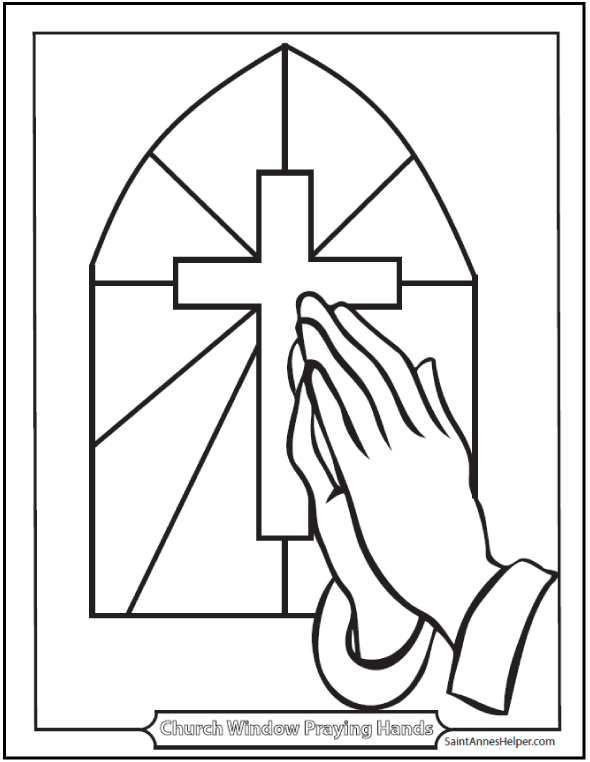 Catholic Prayers: Stained Glass, Cross, and Praying Hands Coloring Page